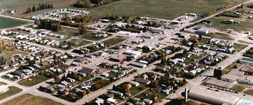 aerial view of Kurt Browning hometown