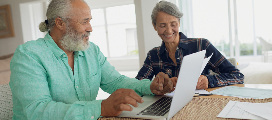 African American senior couple doing finances RRSP