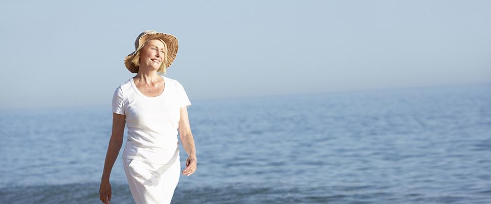 Canadian Senior woman enjoying her sea-side vacation.