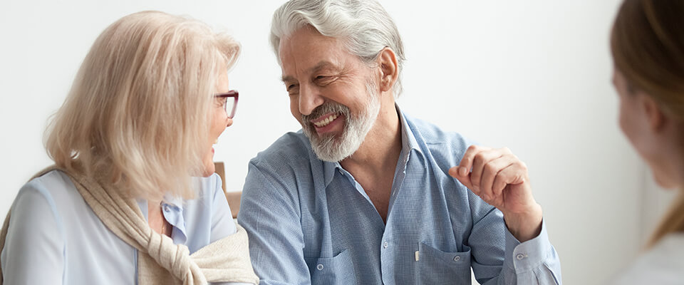 Senior couple planning for remortgage