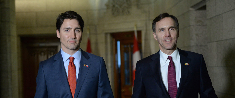 The Canadian Prime Minister Justin Trudeau with Finance Minister Bill Morneau at the presentation of the 2016 Federal Budget.